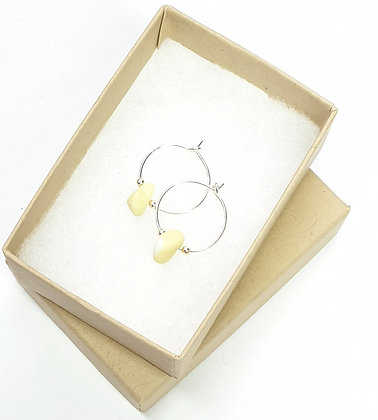 Pastel yellow RARE MILK SEAGLASS hoops