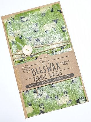 Beeswax Sandwich Wrap (sheep, green)