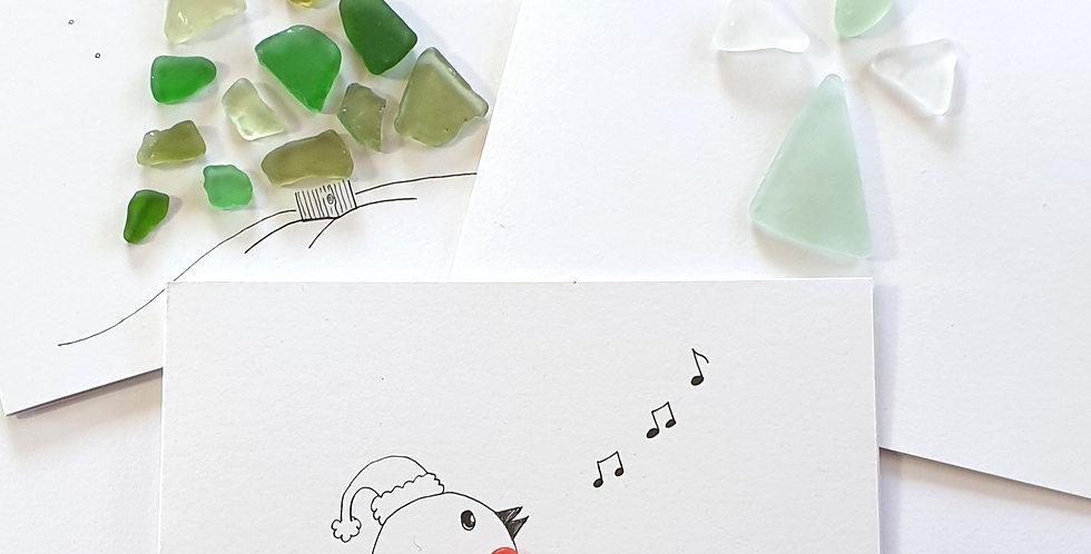 Sea Glass Greetings Cards - Christmas Trio 1