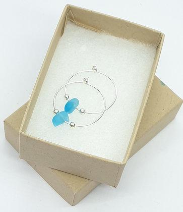 Turquoise fine hoop earrings