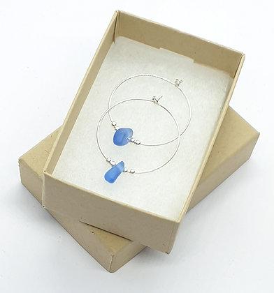 Blue seaglass, 25mm hoop earrings