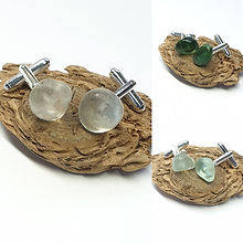 Anglesey seaglass sea glass beachglass bespoke unique jewellery jewelry sterling silver rose gold ethical upcycled eco-friendly Wales cufflinks men man in your life twisting catch Father's Day present gift