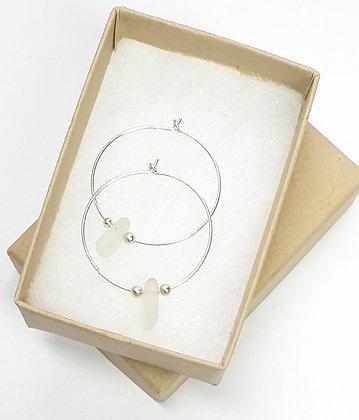 White seaglass, 25mm hoop earrings