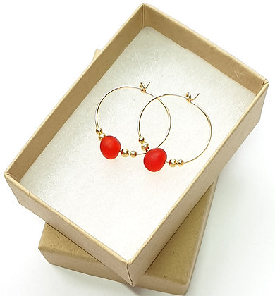 RED seaglass, 20mm 14k gold hoop earrings