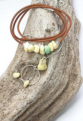 Rare milk glass pendant, earrings, bracelet set
