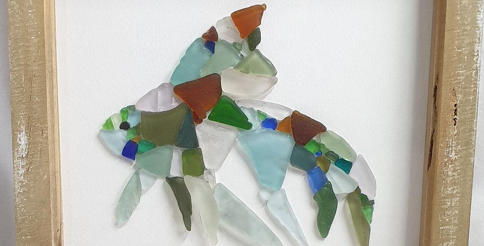 Tropical fish sea glass boxed art