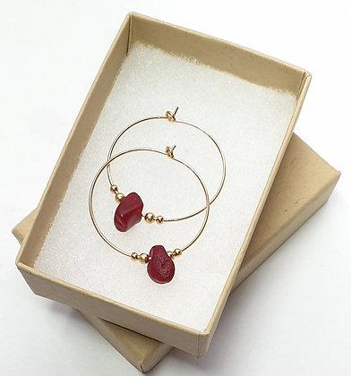 RED seaglass, 25mm 14k gold hoop earrings