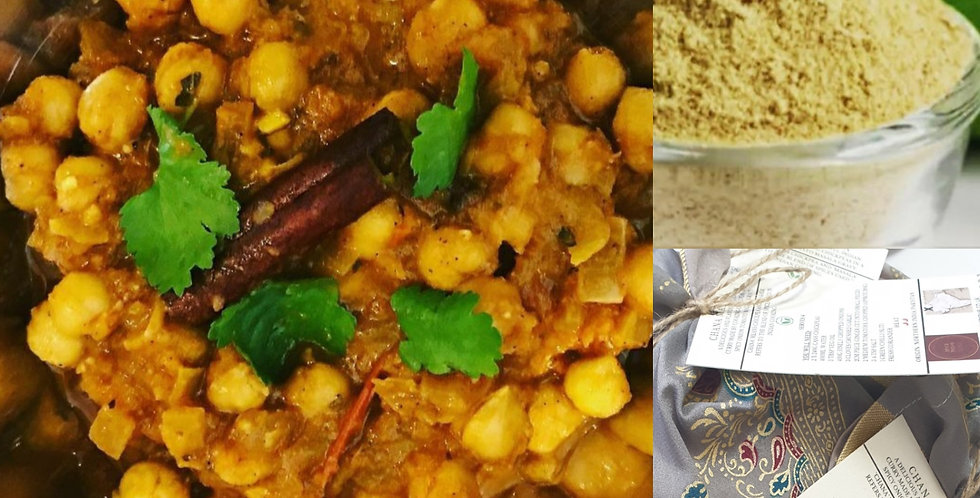 Artisan Curry kit in upcycled saree pouch - Chana Masala (Ve)