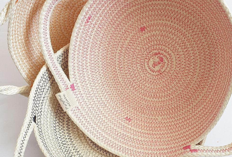 Handmade hemp rope bowl with handles