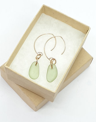 Rose gold, seafoam green seaglass leaf shaped earrings