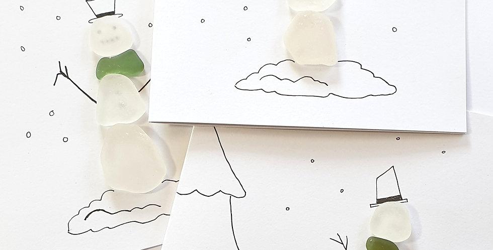 Sea Glass Greetings Cards - Snowman