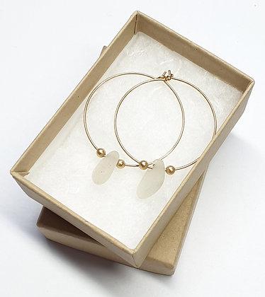 White seaglass, 30mm 14k gold hoop earrings