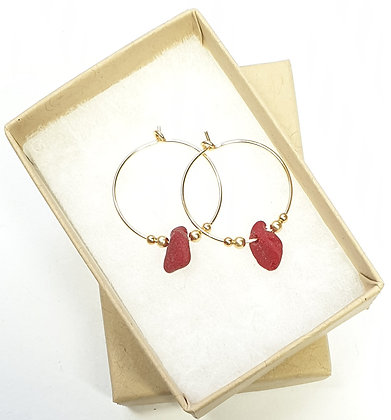 RED milk seaglass, 20mm 14k gold hoop earrings