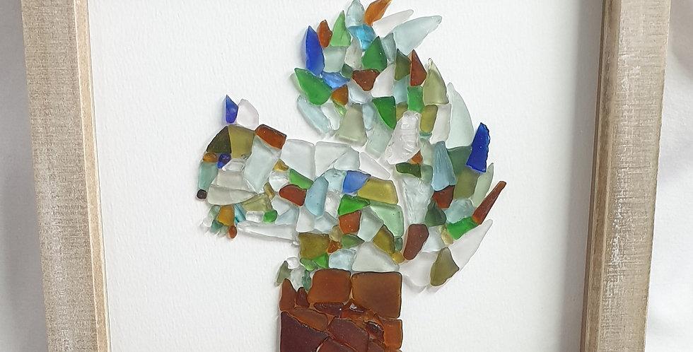 Squirrel sea glass boxed art