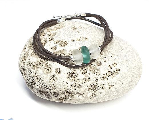 Triple wrap leather bracelet (54cm/M)