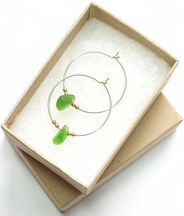 Green seaglass, 25mm 14k gold hoop earrings