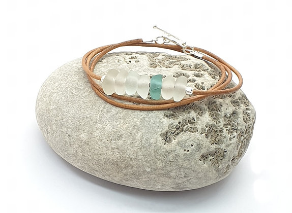 Triple-wrap leather bracelet (57cm/L)