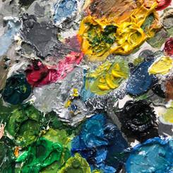 Artist's palette of paints