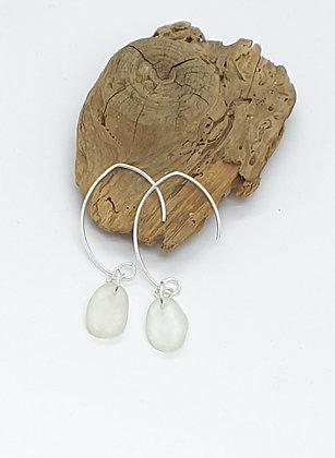 Clear/white glass earrings