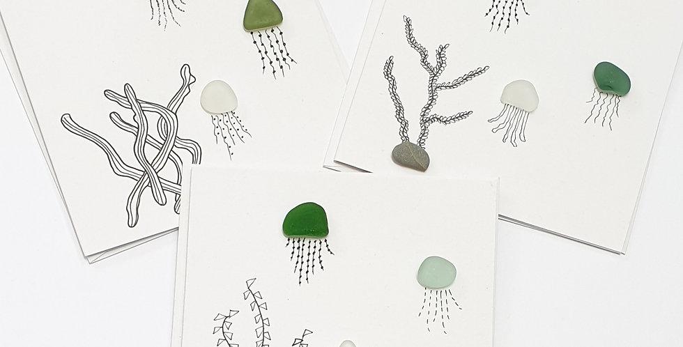 Sea Glass Greetings Cards -Jellyfish