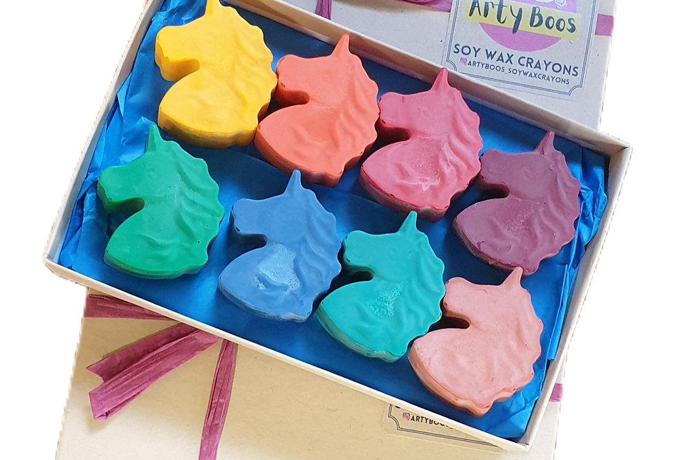 Eight large handmade eco-crayons - unicorns