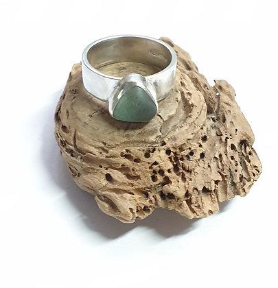 Triangular seafoam green seaglass ring (O)