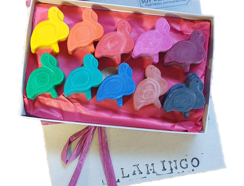 TEN handmade eco-crayons - flamingos