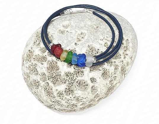 Rare Chakra triple wrap leather bracelet (54cm/M)