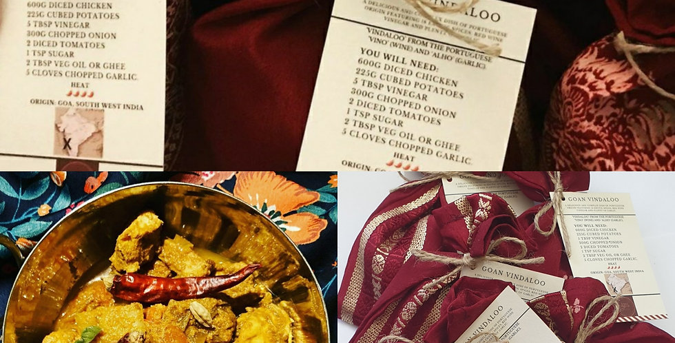 Artisan Curry kit in upcycled saree pouch - Goan Vindaloo
