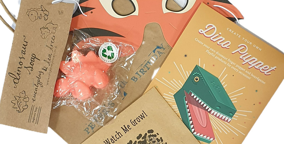 Personalised party bags (cardboard kit, soap, mask)