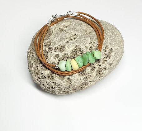 Triple wrap leather bracelet (57cm/L)