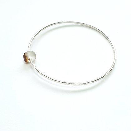 Handmade bangle with seaglass charm (M)
