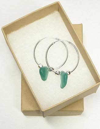 Turquoise seaglass 25mm sleeper earrings