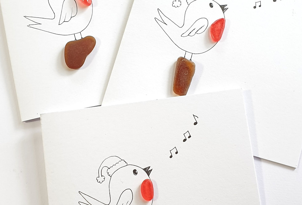 Sea Glass Greetings Cards - Robin