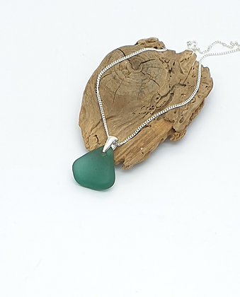 Deep turquoise pendant and chain