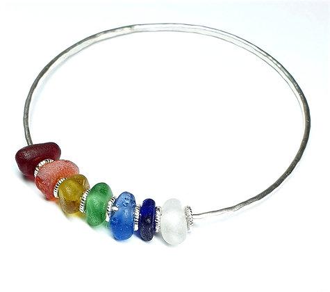 Bangle with chakra seaglass charms (L)