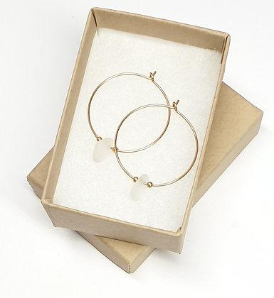 White seaglass, 25mm 14k gold hoop earrings