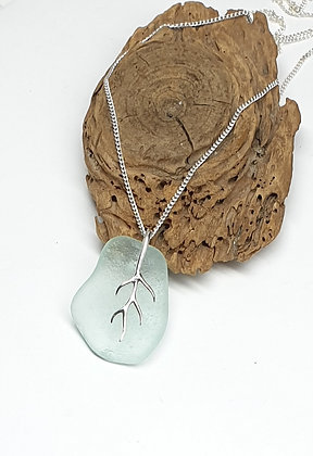 Seafoam seaglass pendant with branching bail