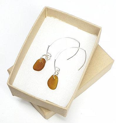 Caramel seaglass, loop-through hammered earrings