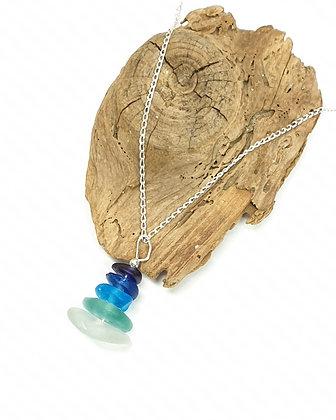 Aqua stack pendant and chain
