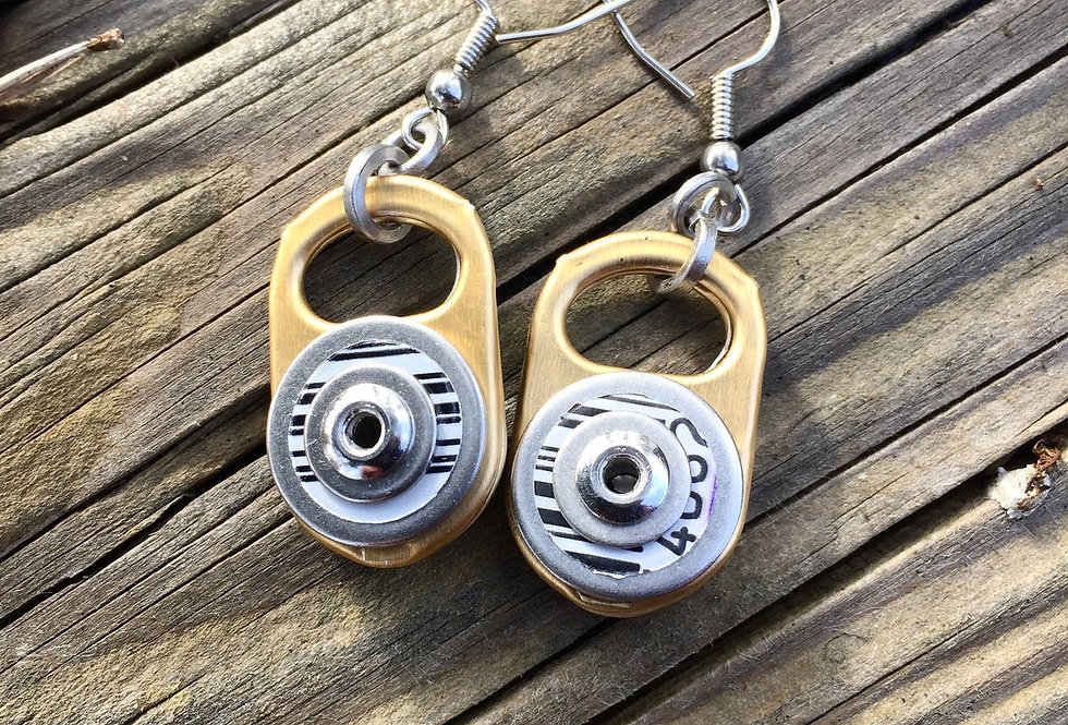 Recycled gold ring-pull earrings
