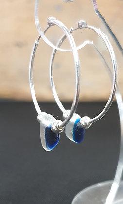 Blue multis sea glass 30mm sleeper earrings