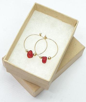 RED seaglass, 20mm 14k gold hoop earrings
