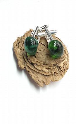 Forest green seaglass cufflinks