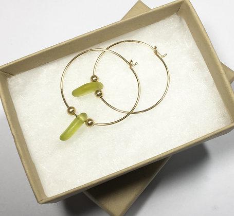 Yellow sea glass, 25mm 14k gold hoop earrings