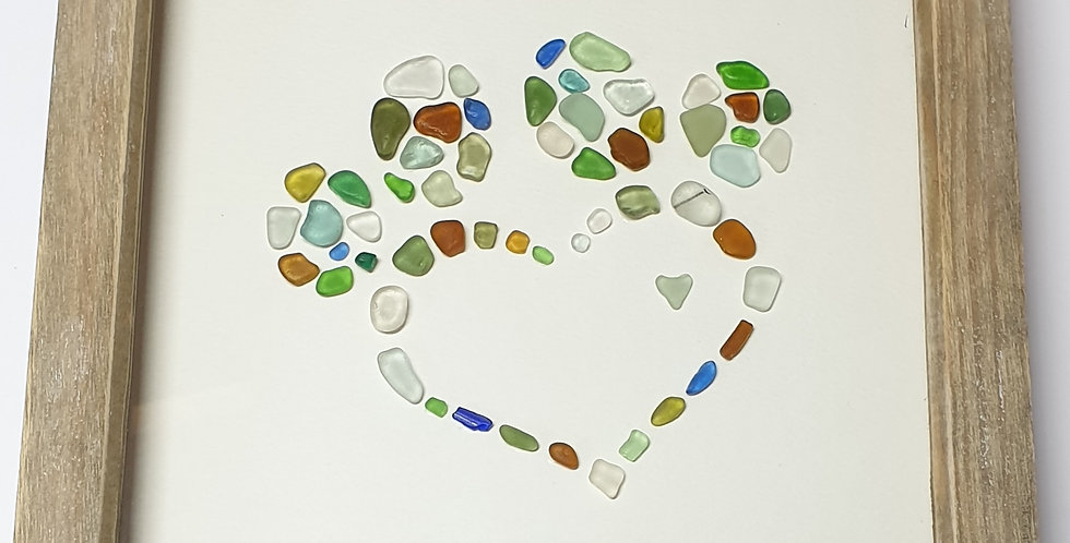 Paw and Heart sea glass boxed art