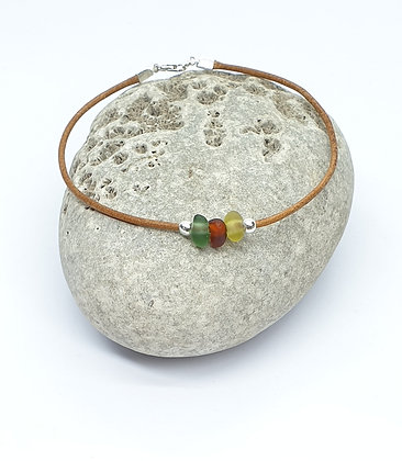 """Leather seaglass anklet - 9.5"""""""