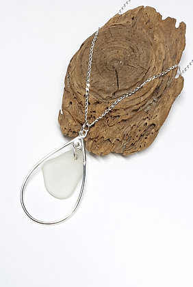 Nested seaglass in teardrop pendant, with chain