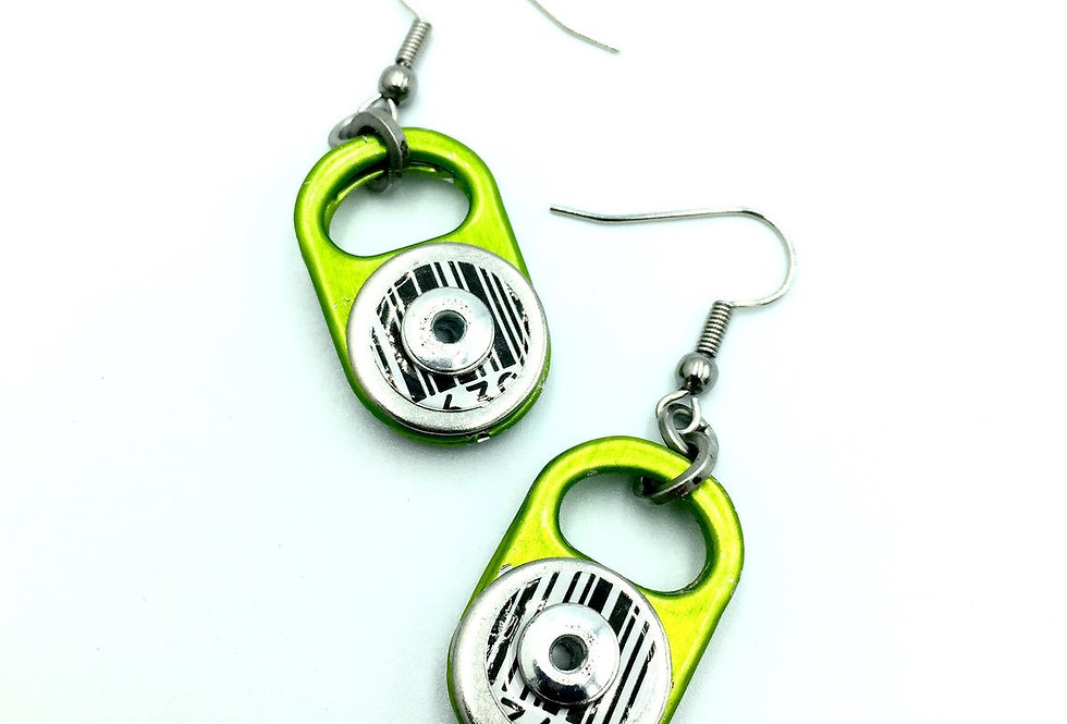 Recycled lime green ring-pull earrings