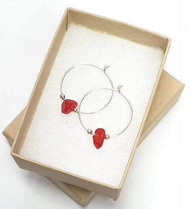 Red seaglass fine hoop earrings